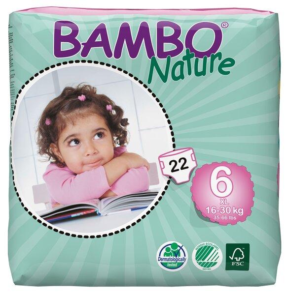 Ekologiškos sauskelnės BAMBO Nature XL , 6, 16-30 kg, 22 vnt. kaina ir informacija | Sauskelnės, vystyklai | pigu.lt