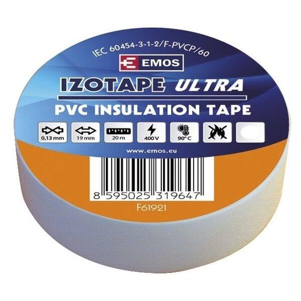 PVC izoliacinė juosta IZOTAPE ULTRA 19/20 balta kaina ir informacija | Mechaniniai įrankiai | pigu.lt