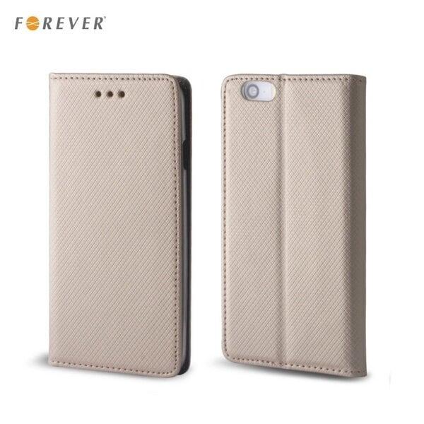 Apsauginis dėklas Forever Smart Magnetic Fix Book skirtas LG H340N Leon, Auksinis kaina ir informacija | Telefono dėklai | pigu.lt