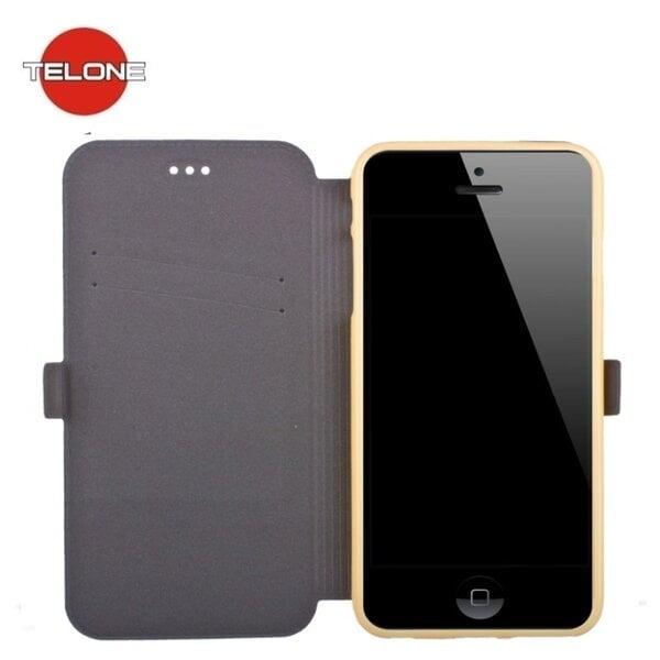 Atverčiamas dėklas Telone Super Slim Shine Book Case skirtas LG K10 K420N, Auksinis kaina ir informacija | Telefono dėklai | pigu.lt
