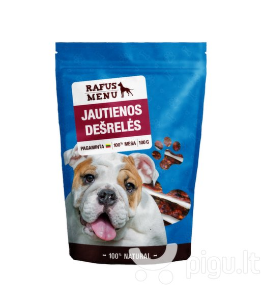 100% natūralios vytintos jautienos dešrelės šunims Rafus Menu, 100 g kaina ir informacija | Skanėstai šunims | pigu.lt