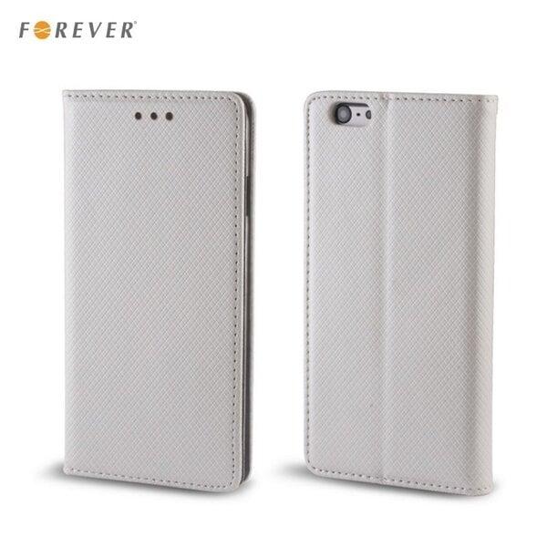 Apsauginis dėklas Forever Smart Magnetic Fix Book skirtas Samsung Galaxy J1 (J120F), Sidabrinis kaina ir informacija | Telefono dėklai | pigu.lt