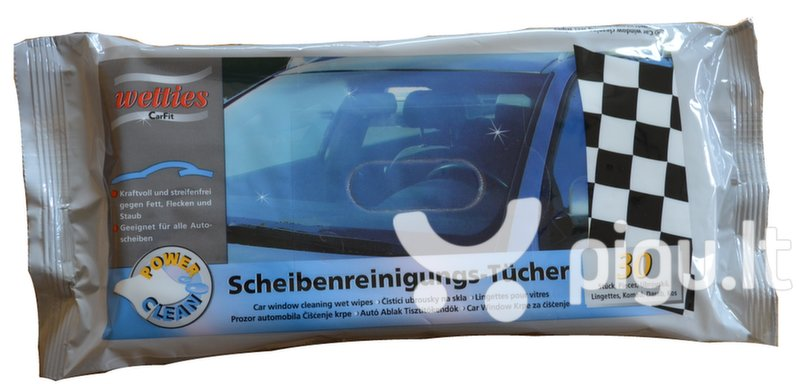 Automobilių stiklų valymo drėgnos servetėlės Wetties, 30 vnt. kaina ir informacija | Valymo šluostės, servetėlės | pigu.lt