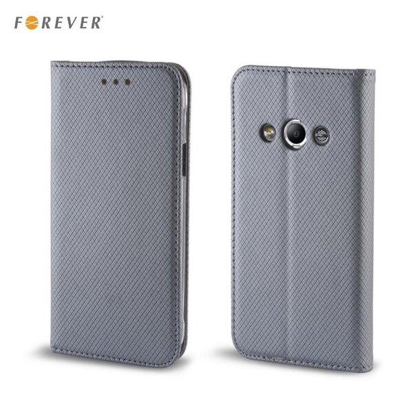 Apsauginis dėklas Forever Smart Magnetic Fix Book skirtas Samsung Galaxy J3 (J320F), Pilkas kaina ir informacija | Telefono dėklai | pigu.lt
