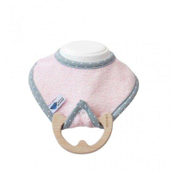 Seilinukas ir medinis kramtukas - SupeRRO baby eco, pink kaina ir informacija | Maitinimo priemonės | pigu.lt