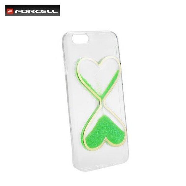Mobiliojo telefono dėklas Forcell Quicksand Hear Design skirtas Apple iPhone 5 / 5S / SE , Žalia kaina ir informacija | Telefono dėklai | pigu.lt