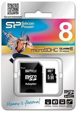 Silicon Power 8GB microSDHC 10 klasė su SD adapteriu kaina ir informacija | Atminties kortelės telefonams | pigu.lt