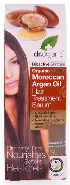 Natūralus plaukų serumas Dr. Organic Moroccan Argan Oil 100 ml kaina ir informacija | Priemonės plaukų stiprinimui | pigu.lt