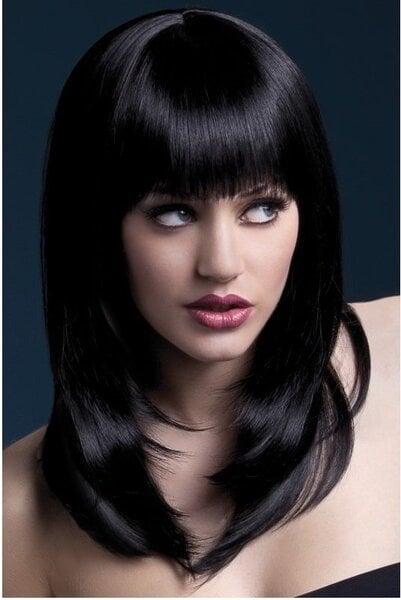 Juodų plaukų perukas Tanja kaina ir informacija | Karnavaliniai kostiumai | pigu.lt