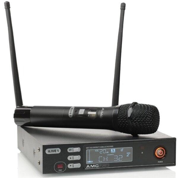 AMC iLive 1 bevielis mikrofono komplektas su rankiniu mikrofonu (606-621 MHz) kaina ir informacija | Muzikos instrumentai ir priedai | pigu.lt