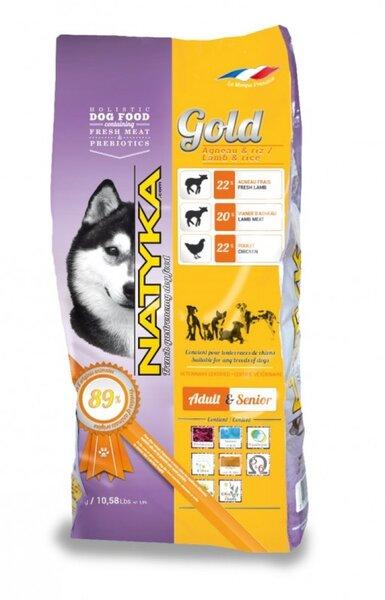 Natyka Gold Lamb & Rice 4,5 kg kaina ir informacija | Sausas maistas šunims | pigu.lt
