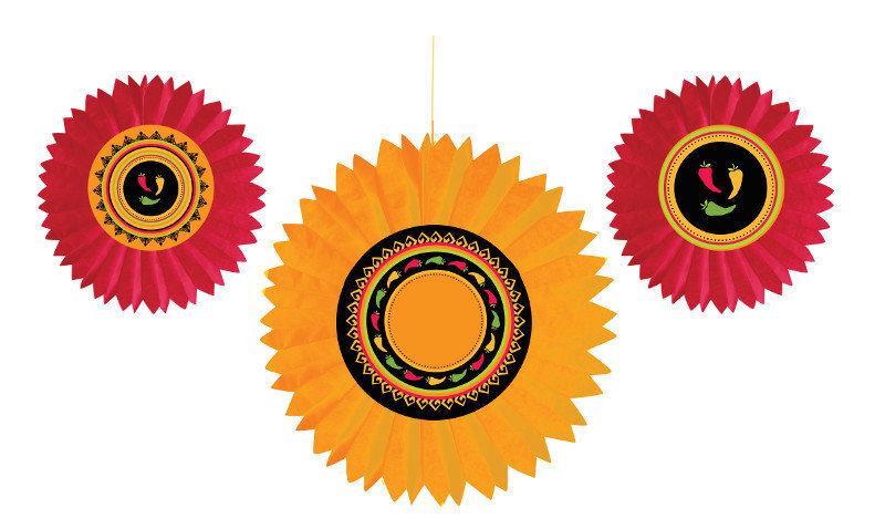 Dekoracijos-vėduoklės Fiesta Meksikoje 3vnt. kaina ir informacija | Dekoracijos, indai šventėms | pigu.lt