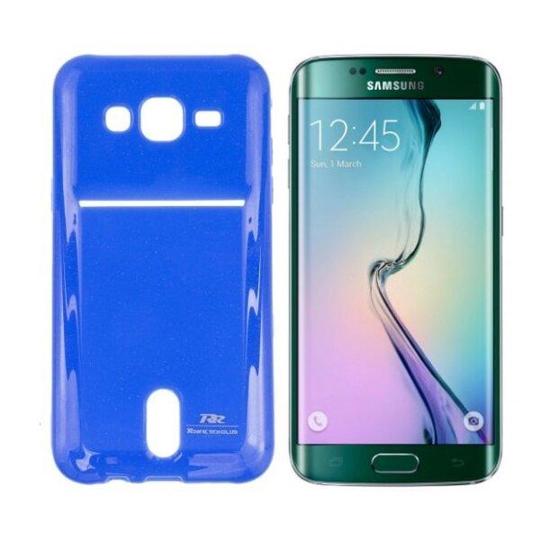 Apsauginis dėklas Roar Card Pocket Jelly skirtas Samsung Galaxy S6 Edge (G925), Mėlynas kaina ir informacija | Telefono dėklai | pigu.lt