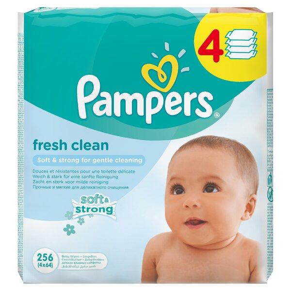 Drėgnos servetėlės PAMPERS Fresh Clean 4x64 vnt. kaina ir informacija | Sauskelnės, vystyklai | pigu.lt
