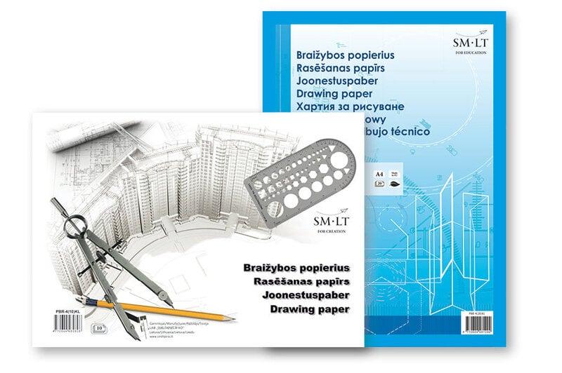 Popierius braižybai A4, 160 gsm, 10 lapų, klijuoti kaina ir informacija | Kanceliarinės prekės | pigu.lt