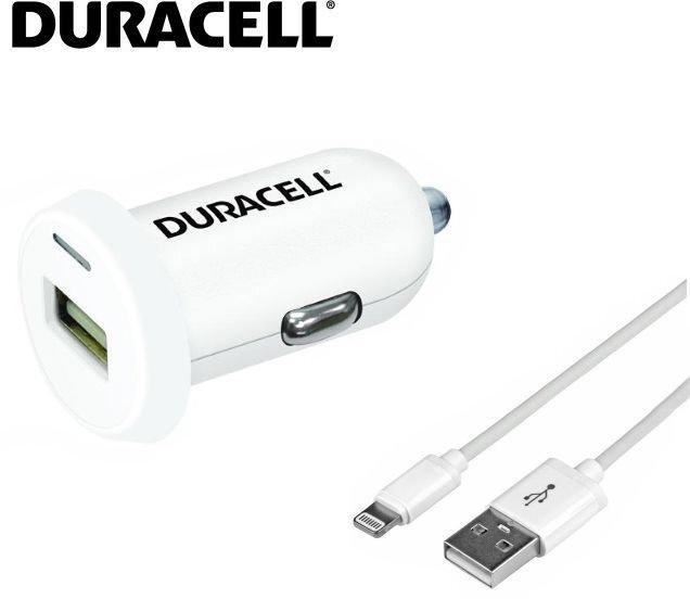 Universalus automobilinis įkroviklis Duracell 2,4A USB + 1m Lightning laidas, Baltas kaina ir informacija | Krovikliai telefonams | pigu.lt