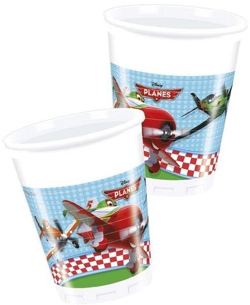 Plastikiniai puodeliai Disney planes8 vnt./200 ml kaina ir informacija | Dekoracijos, indai šventėms | pigu.lt