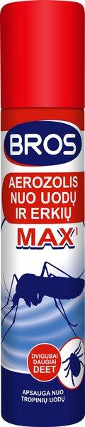 BROS MAX aerozolis nuo uodų ir erkių, 90 ml kaina ir informacija | Priemonės nuo uodų ir erkių | pigu.lt