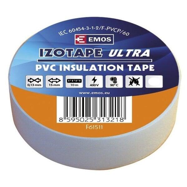 PVC izoliacinė juosta IZOTAPE ULTRA 15/10 balta kaina ir informacija | Mechaniniai įrankiai | pigu.lt