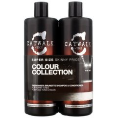 Priežiūros priemonių rinkinys tamsiems plaukams Tigi Catwalk Colour Collection Brunette: šampūnas 750 ml + kondicionierius 750 ml