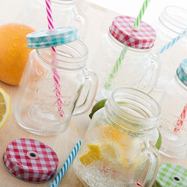 Skaidraus stiklo gėrimo stiklainis su rankena ir šiaudeliu (450ml) kaina ir informacija | Originalūs puodeliai | pigu.lt