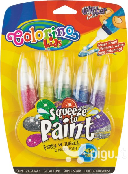 Blizgūs dažai piešimui tubelėse su teptuku COLORINO, 5 spalvos, 14 ml kaina ir informacija | Kanceliarinės prekės | pigu.lt