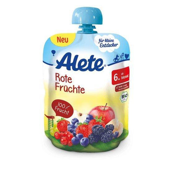 Raudonų vaisių tyrelė kūdikiams Alete BIO, nuo 6 mėn., 90g, minkštoje fasuotėje kaina ir informacija | Kūdikių maistas | pigu.lt