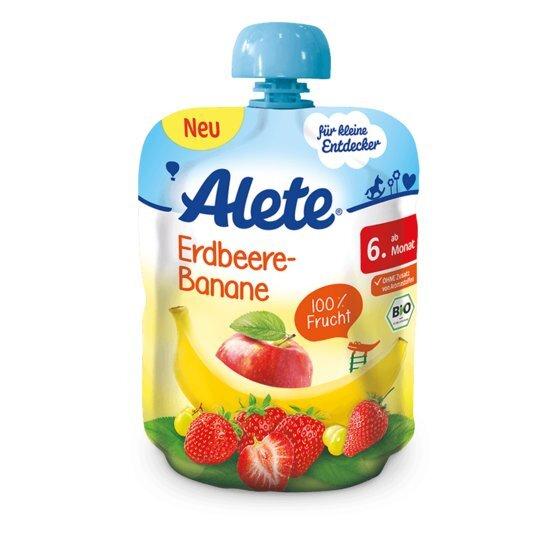 Braškių-bananų tyrelė kūdikiams Alete BIO, nuo 6 mėn., 90g, minkštoje fasuotėje kaina ir informacija | Kūdikių maistas | pigu.lt