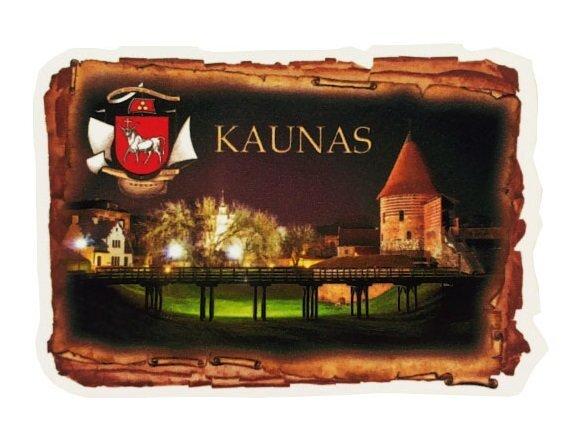 Medinis magnetukas KAUNAS su stilizuota nuotrauka kaina ir informacija | Lietuviška sirgalių atributika | pigu.lt