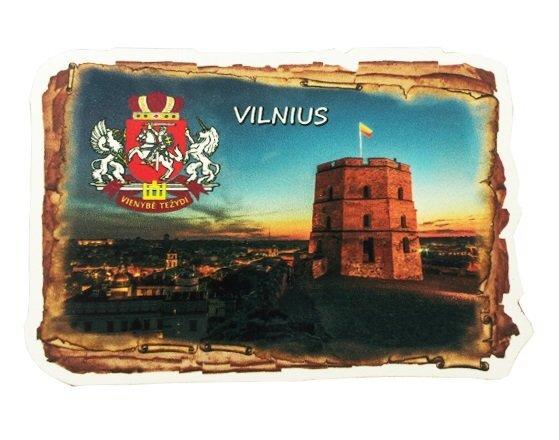 Medinis magnetukas su stilizuota nuotrauka GEDIMINO PILIS kaina ir informacija | Lietuviška sirgalių atributika | pigu.lt