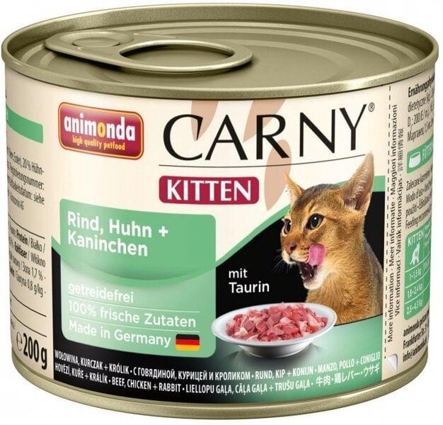 Carny Kitten su jautiena, vištiena ir triušiena, 200g kaina ir informacija | Konservai katėms | pigu.lt