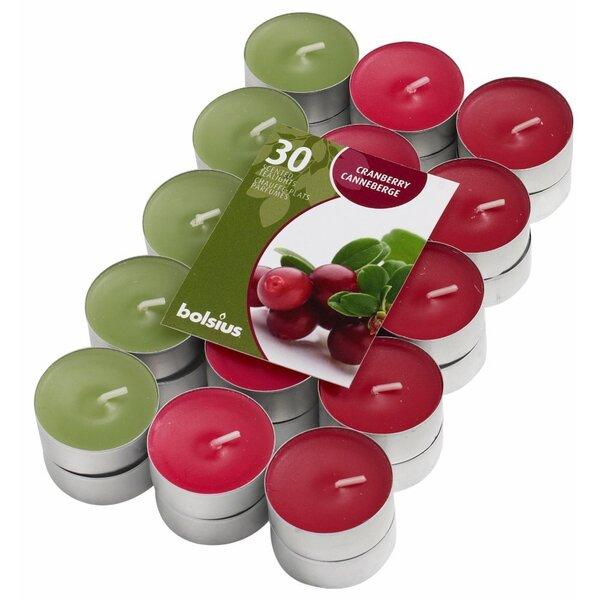 Kvepiančios arbatinės žvakės Wild Cranberry, 30 vnt. kaina ir informacija | Žvakidės, žvakės | pigu.lt