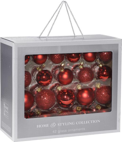 Eglutės žaisliukų rinkinys 42 vnt. (stikliniai) kaina ir informacija | Kalėdinės dekoracijos, eglutės žaisliukai | pigu.lt