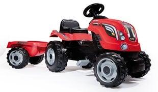 Minamas traktorius su priekaba Smoby Farmer XL, raudonas