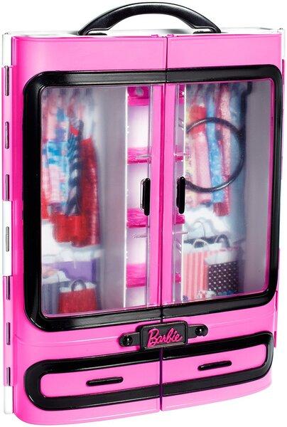Lėlės Barbie rūbų spinta - lagaminas, DMT57 kaina ir informacija | Žaislai mergaitėms | pigu.lt
