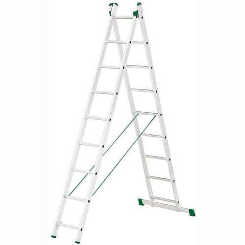Kopėčios aliuminės, universalios, dvipusės, ištraukiamos, 2 dalių 2x9 pakopų kaina ir informacija | Buitinės kopėčios, rampos | pigu.lt