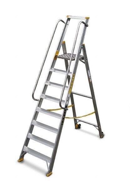Kopėčios aliuminės, vienpusės, 7 pakopų, su porankiais kaina ir informacija | Buitinės kopėčios, rampos | pigu.lt