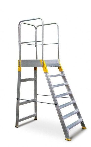 Kopėčios aliuminės, su darbine aikštele ir porankiais, 7 pakopų kaina ir informacija | Buitinės kopėčios, rampos | pigu.lt