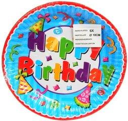 Lėkštutės Happy Birthday, 23 cm/6 vnt.