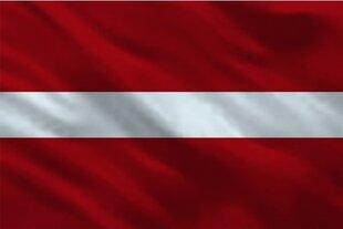 Latvijos vėliava spausta šilkografijos būdu