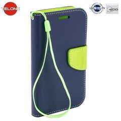 Apsauginis dėklas Telone Fancy Diary Bookstand skirtas Sony Xperia E5, Mėlyna/Šviesiai žalia
