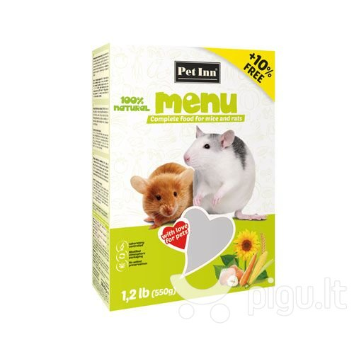 Pet Inn Menu maistas žiurkėms ir pelėms 500g + 50g kaina ir informacija | Maistas graužikams | pigu.lt