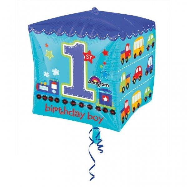 Folinis balionas-kubas 1-asis berniuko gimtadienis 38 cm kaina ir informacija | Dekoracijos, indai šventėms | pigu.lt