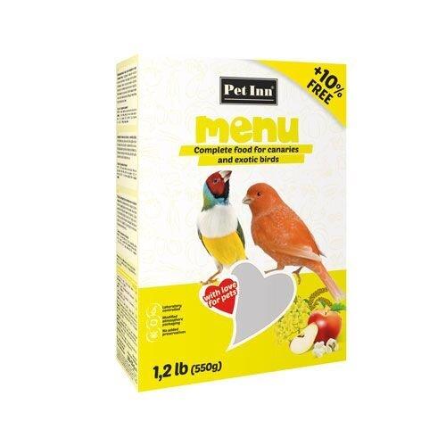 Pet Inn Menu maistas kanarėlėms ir egzotiniams paukščiams 500g + 50g kaina ir informacija | Lesalas | pigu.lt