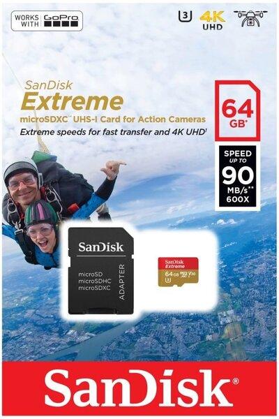 Atminties kortelė microSDHC 64GB Extreme U3 V30 UHS-I 90/60 MB/s kaina ir informacija | Atminties kortelės fotoaparatams, kameroms | pigu.lt
