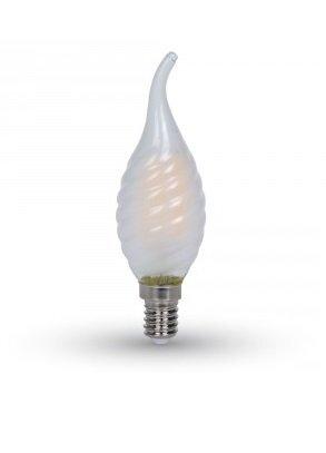 4W LED COG lemputė V-TAC E14, matiniu stiklu, susuktos žvakes formos, riesta,pritemdoma (2700K) šiltai balta