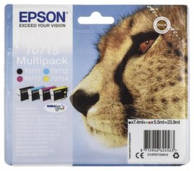 EPSON T0715 ink cartridge black and tri-colour standard capacity black: 7.4ml, colour: 3 x 5.5ml 4-pack blister without alarm kaina ir informacija | EPSON T0715 ink cartridge black and tri-colour standard capacity black: 7.4ml, colour: 3 x 5.5ml 4-pack blister without alarm | pigu.lt
