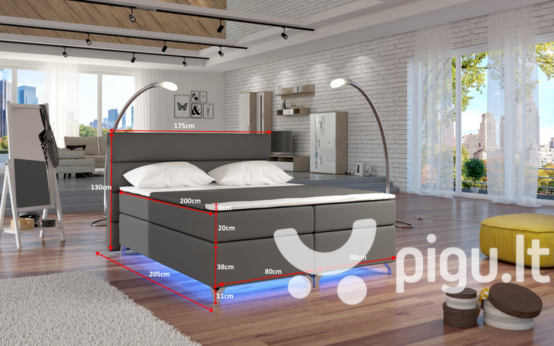 Lova Amadeo su LED apšvietimu, 160X200 cm, ruda