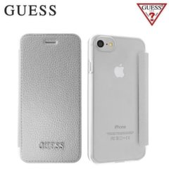 GUESS GUFLBKP7IGLTSI IriDescent Eco-leather and plastic ultra slim book case Apple iPhone 7 4.7inch Silver