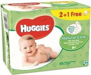 Drėgnos servetėlės HUGGIES Natural Care 168 vnt. kaina ir informacija | Drėgnos servetėlės, paklotai | pigu.lt